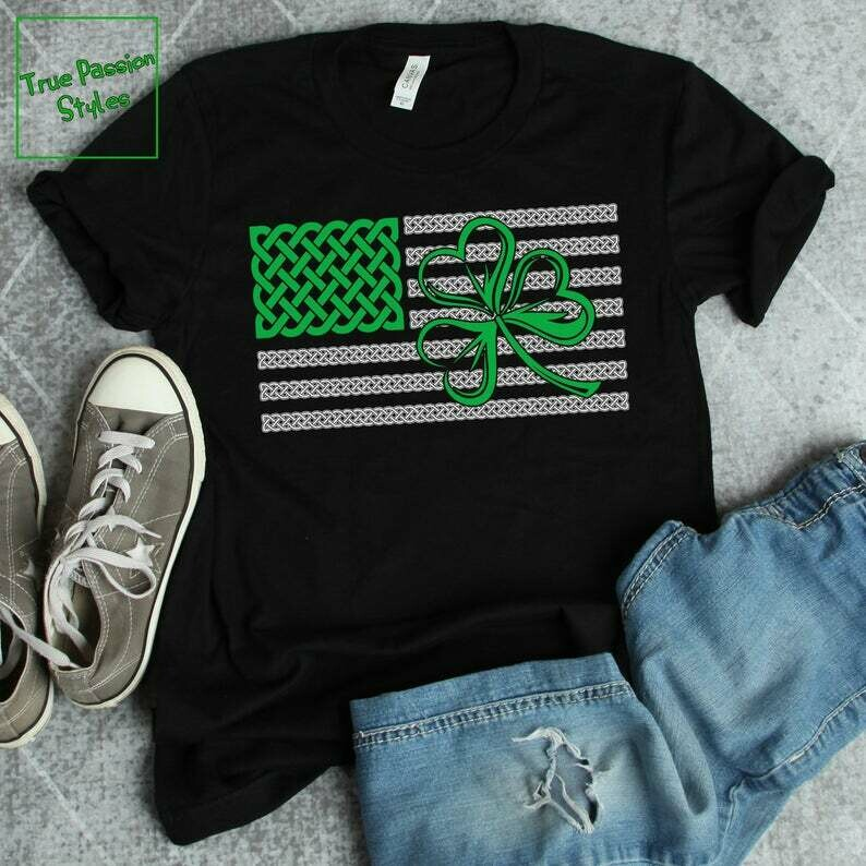 Costcotee St Patrick's Day T-shirt With American Flag, Celtic Pattern Knots and Shamrock Symbol | Irish Pride, St Patricks Day Shirt For Women and Men
