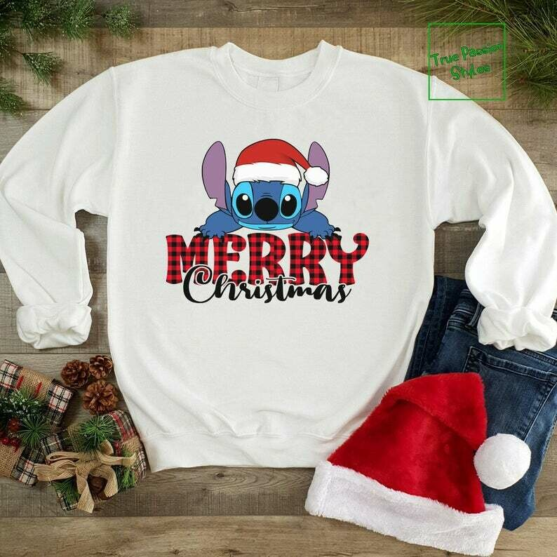 Costcotee Merry Christmas With Stitch T-shirt, Sweater, Hoodie - Disney Holiday Party Tee Shirt - Winter Trip Vacation Gift - Ho Ho Ho Stitch Shirts