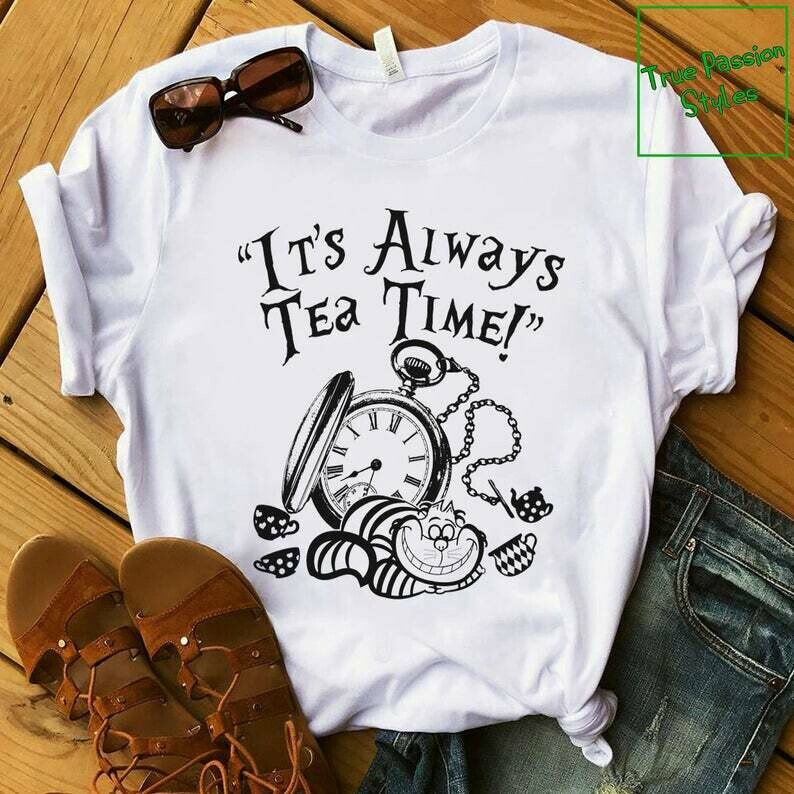 Costcotee Funny Alice In Wonderland T-shirt, Sweater, Hoodie - It's Always Tea Time With Cheshire Cat, Vintage Clock, Tea Cups Cat - Disney Trip Shirt