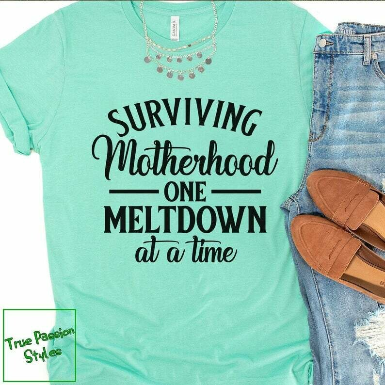 Costcotee Surviving Motherhood One Meltdown at a Time T-shirt, Sweater, Hoodie | Humor Mom Life Shirt, Funny Mom Tee Shirt, New Mother Shirt