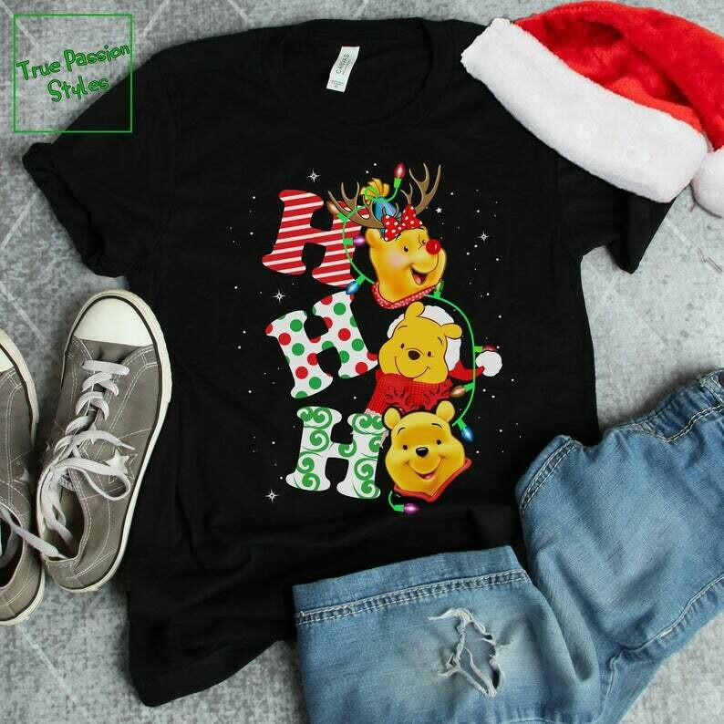 Costcotee Ho Ho Ho With Pooh Bear Christmas T-shirt, Sweater, Hoodie - Winnie The Pooh Disney Holiday Party Tee Shirt - Winter Trip Vacation Gift