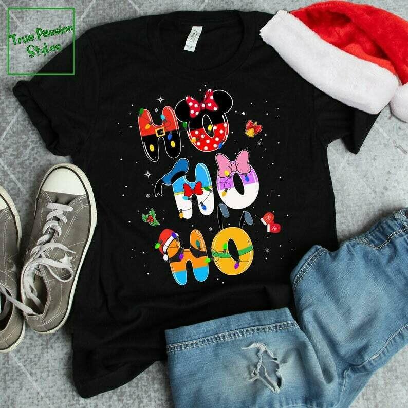 Costcotee Ho Ho Ho Disney Christmas T-shirt, Sweater, Hoodie - Mickey Minnie Donald Daisy Goofy Pluto Holiday Party Tee, Winter Trip Vacation Gift