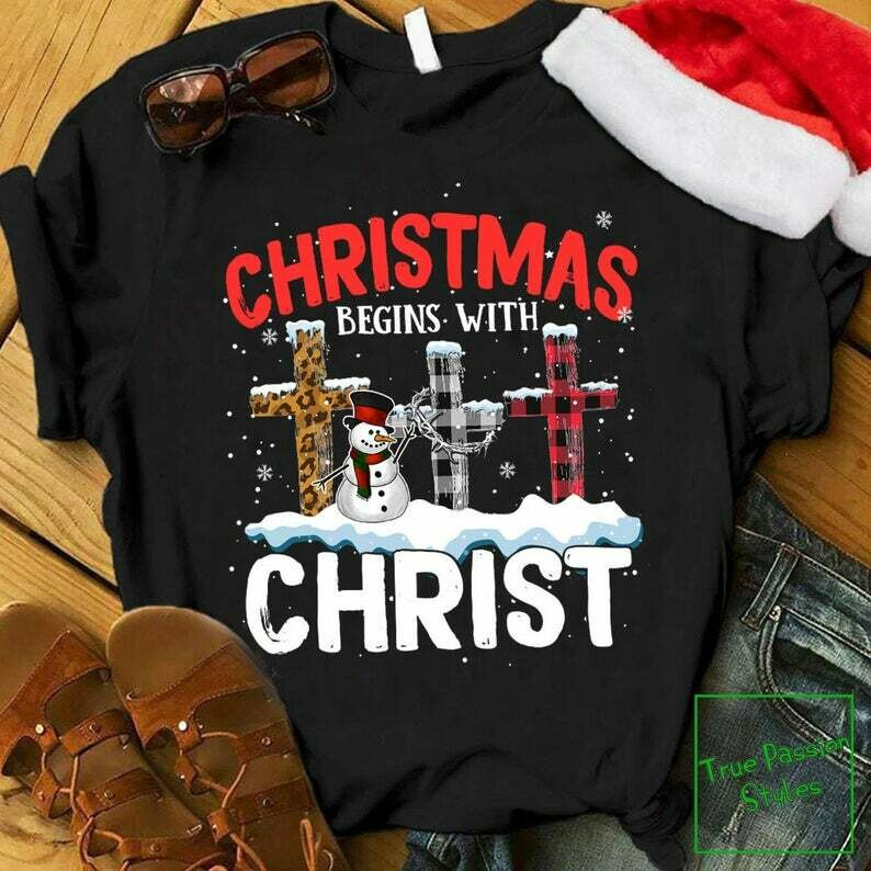 Costcotee Christmas Begins With Christ T-shirt, Sweater, Hoodie - I Love Jesus Christ Holiday Party Tee Shirt - Winter Trip Vacation Gift