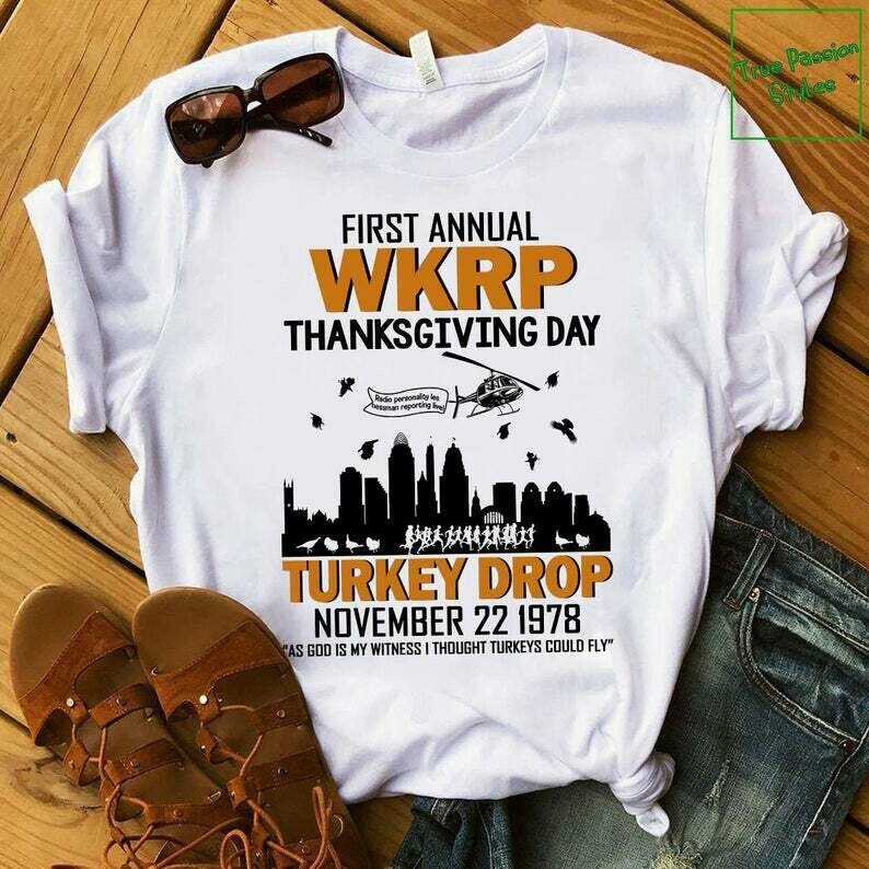 Costcotee Funny Thanksgiving WKRP T-Shirt, Long Sleeve Tee, Sweater, Hoodie - First Annual WKRP Thanksgiving Day Turkey Drop Cincinnati OH Shirts
