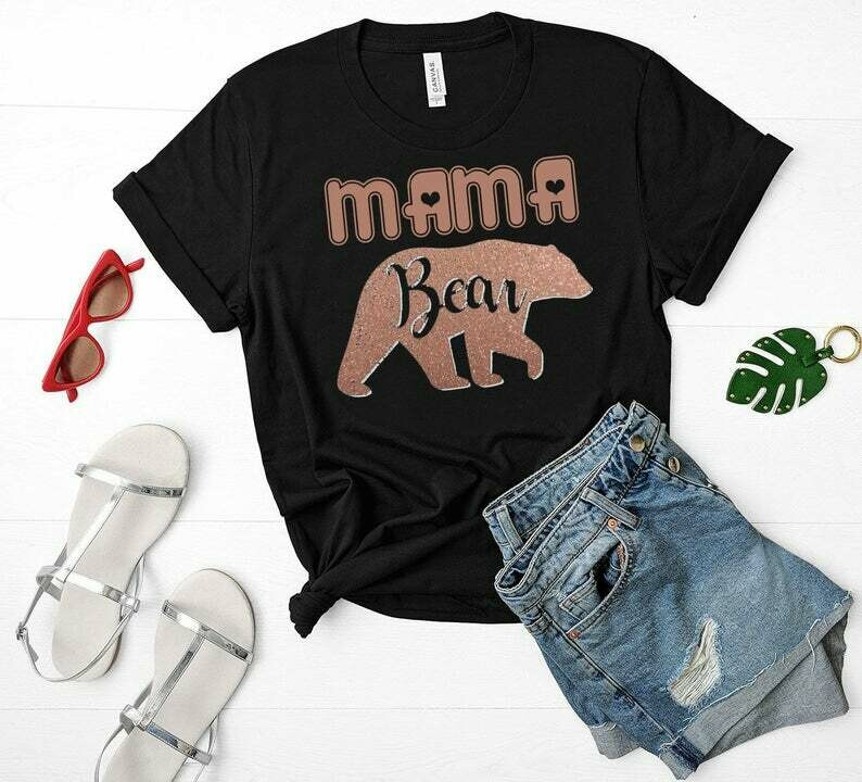 Shirt for Mom, Mama Bear Shirt-Teepee Illustrated-Women's Family Tee-Family Bear Matching Gift for Mother's day mommy bear
