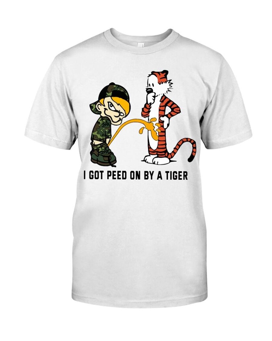 I Got Peed On By A Tiger Calvin and Hobbes T shirt Funny abc Unisex T-Shirt Short-Sleeve Hoodie Sweatshirt Long-Sleeve V-Neck Tank Men Women Tee Gift