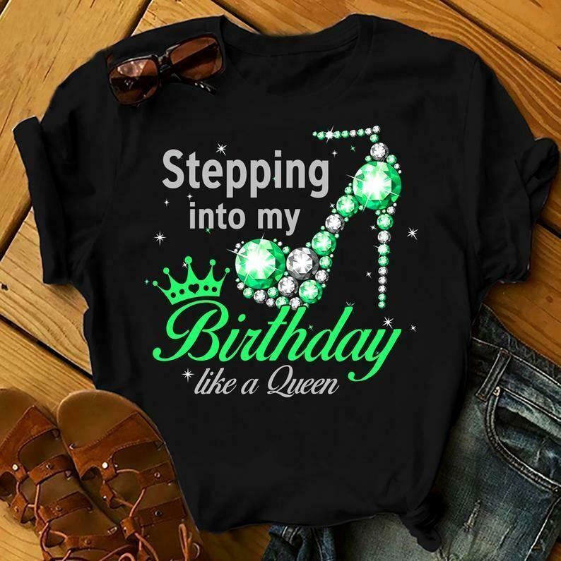Stepping Into My Birthday Like A Queen Shirts Women, Birthday T Shirts, Summer Tops, Beach T Shirts