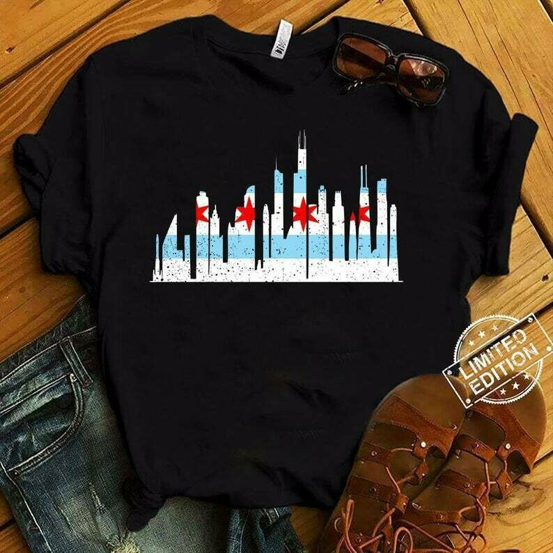 SALE!!! Chicago City Skyline Flag T-Shirt Gift || Chicago Illinois || Chicago Flag || Chicago Skyline Shirt || Chicago Hometown || Unisex