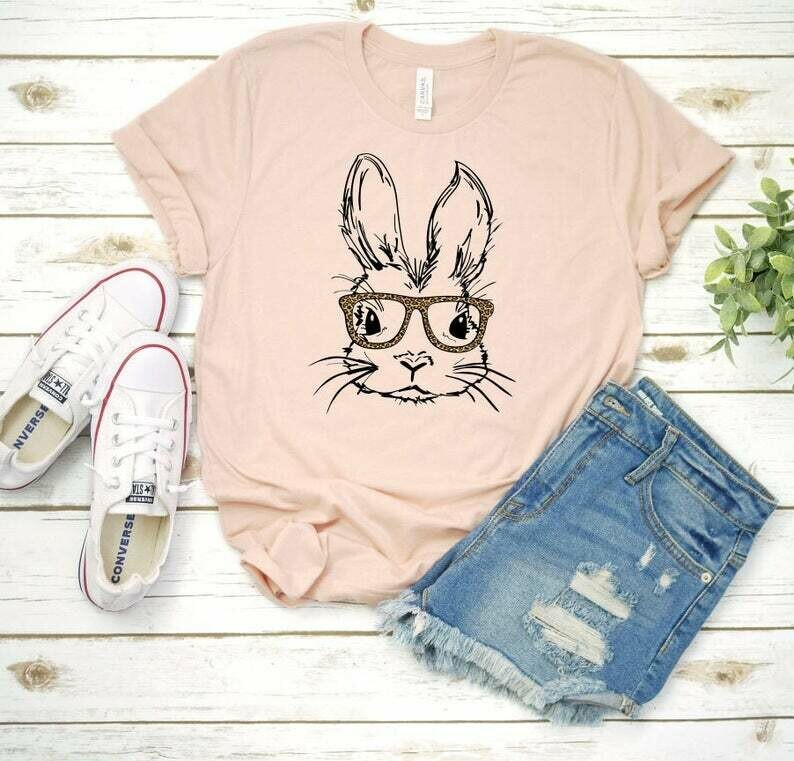 Hipster bunny t-shirt, bunny with glasses, pink rabbit, cute hipster bunny clothes, slouchy super soft t-shirt