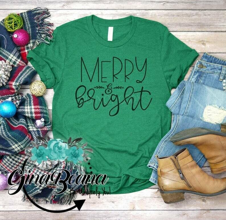 Merry and Bright Christmas Shirt, Love Christmas tee, Adult Christmas Shirt, Festive Shirts, GinaBeana