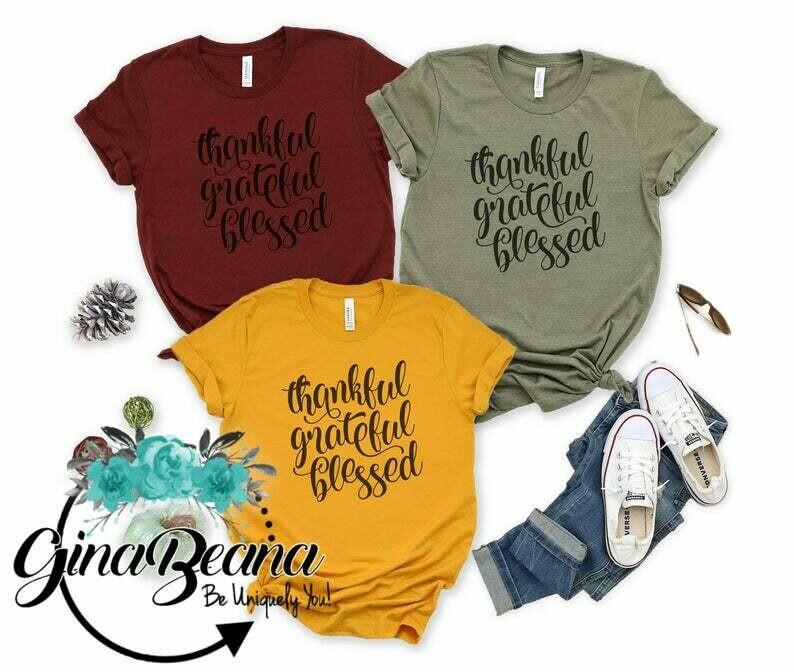 Thankful Greatful Blessed Shirt, Thankgiving Shirts, Fall tees, Matching Thanksgiving Fall Shirts, GinaBeana