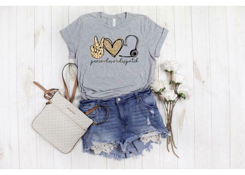 Peace Love Dispatcher, Love Dispatcher Novelty Graphic Unisex Graphic Tee T-Shirt