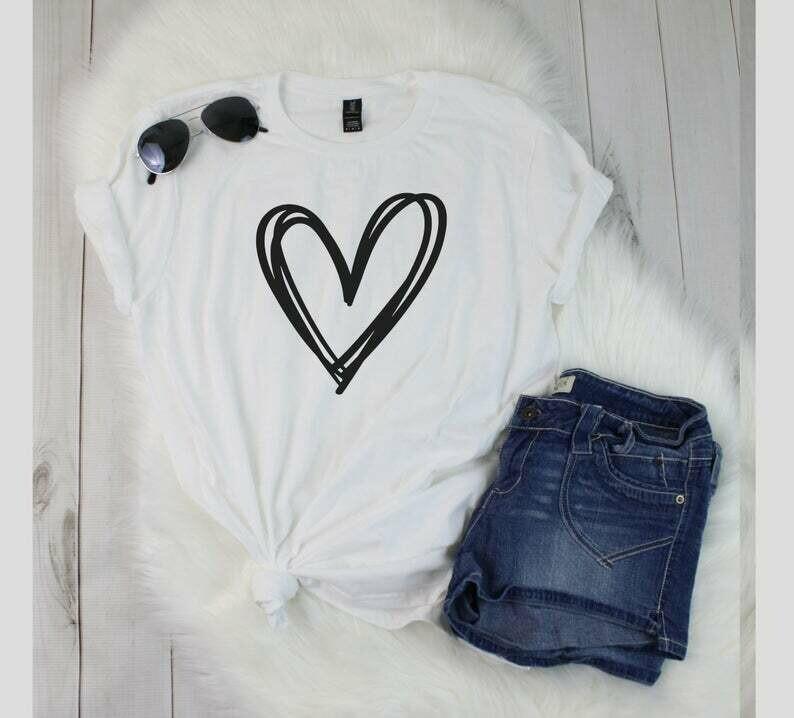 Heart T-Shirt, Cute Love Shirt, Valentines Day T-Shirt, T Shirt For Women, Valentines Gift
