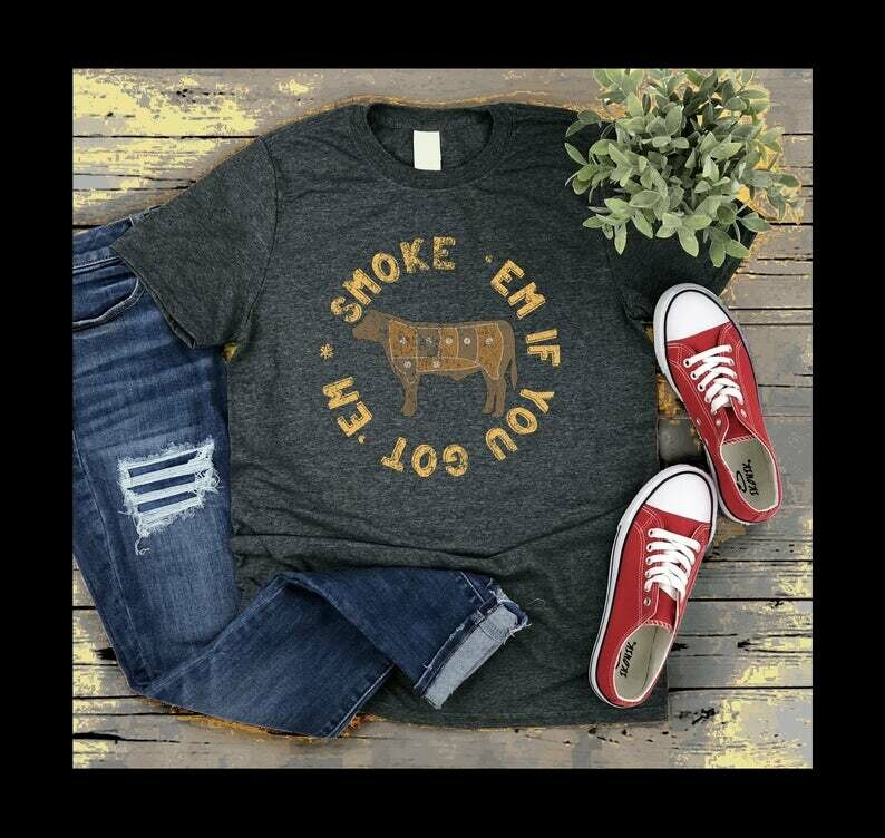 distressed Smoke em if you got em BBQ shirt for dad cook out shirt camping barbecue steak burgers beef grilling smoking ribs charcoal Short