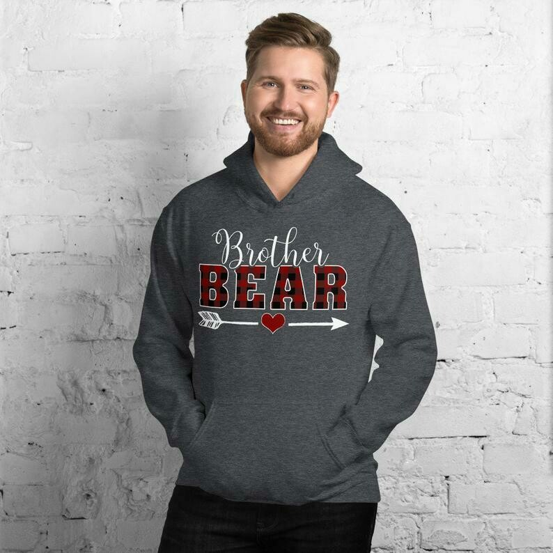 Brother Bear Hoodie, Brother Bear Buffalo Plaid Hoodie, Matching Bear Family Hoodie, Christmas Hooded Sweatshirt For Son, Son Christmas Gift