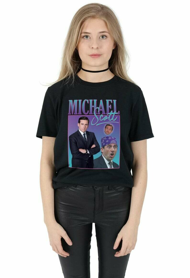 Michael Scott Homage T-shirt Top Shirt Tee Funny The Office TV 90's Party