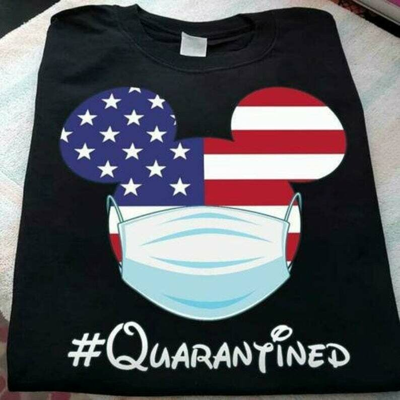 Mickey Mouse Mask #Quarantined Men T-Shirt Cotton S-5XL Black