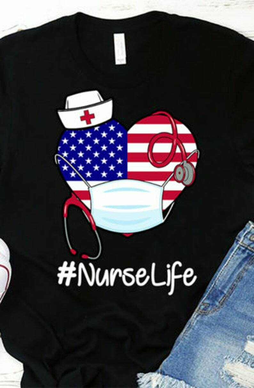 Nurse Life Ladies T-Shirt Cotton S-3XL Black