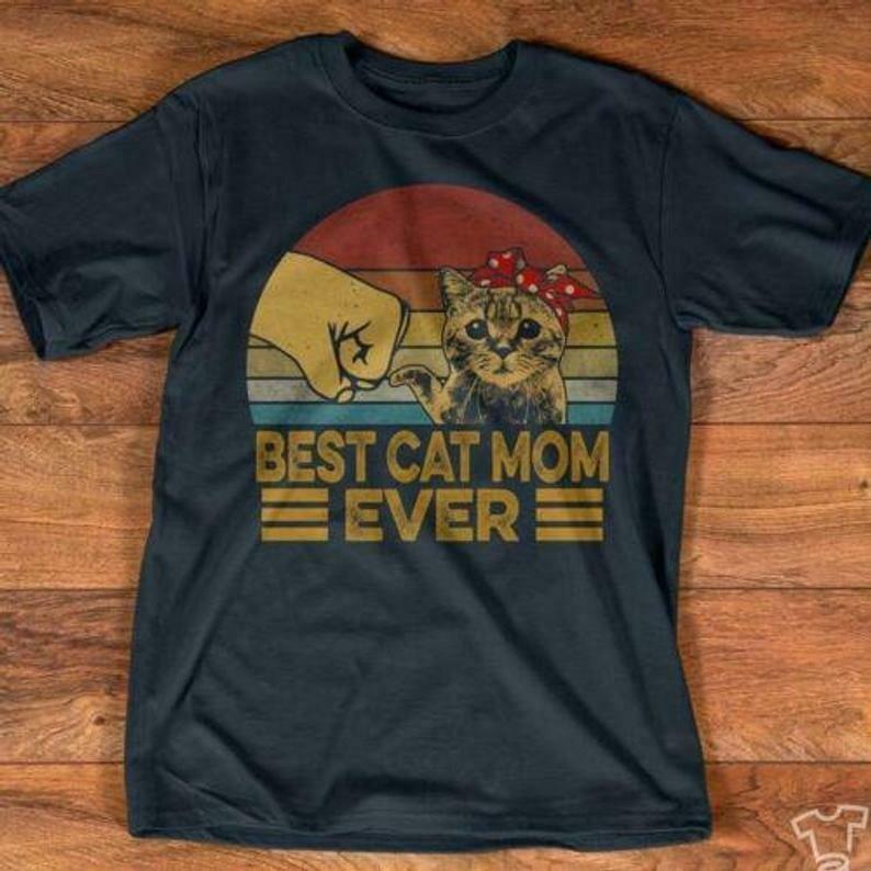Retro Sunset Best Cat Mom Ever Tshirt Women Navy M - 3XL
