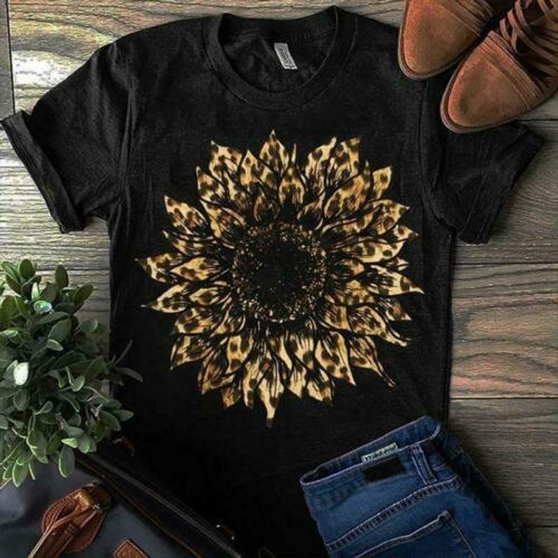 Leopard Sunflower Ladies T-Shirt Cotton Black S-3XL