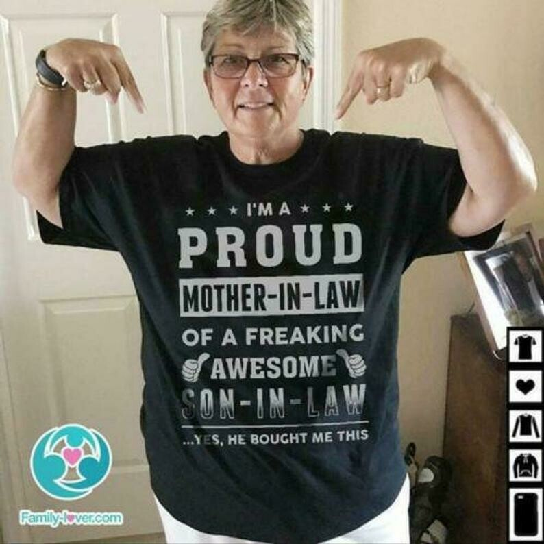 I'm Proud Mother-in-Law Of A Freaking Awesome Son-in-Law Ladies T-Shirt S-3XL