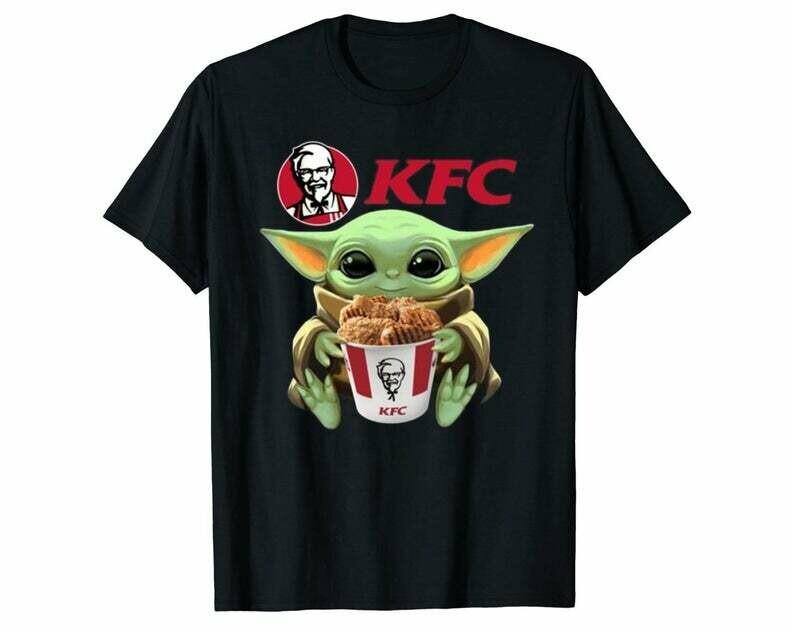 Baby Yoda Hug Kfc Men Women Kid Black T Shirt Hoodie Sweatshirt Longsleeve
