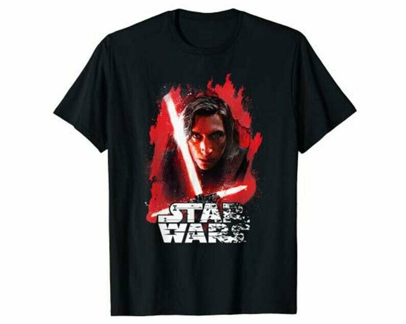 Star Wars Last Jedi Kylo Ren Paint Portrait Graphic T-Shirt