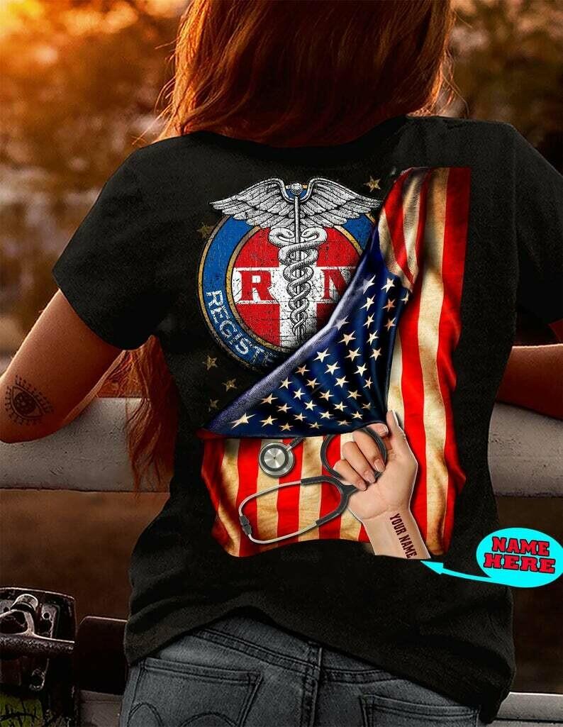 Nurse Flag Custom Name T-shirt