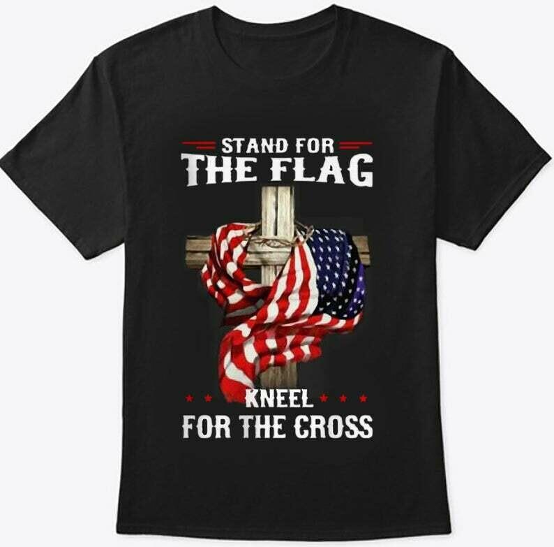 Stand For The Flag Kneel For The Cross USA Flag Christian T-shirt