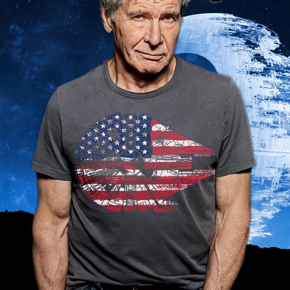 Star Wars The Millennium falcon American Flag T-Shirt