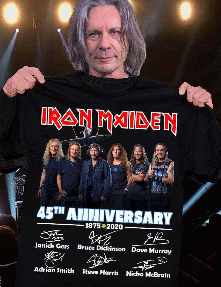 Iron Maiden 45th Anniversary 1975 – 2020 And Members Signatures Shirt Hoodie V-Neck