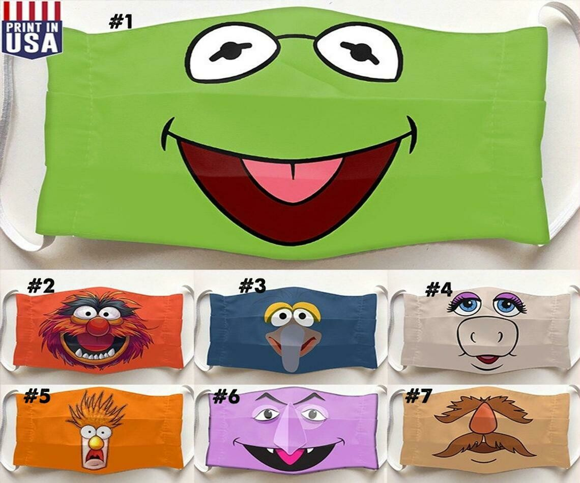 Kermit the Frog The Muppet Show lovers Muppets Mask facemask Washable Comfortable To Wear Anti Droplet Dust Filter Reusable Cotton Face Mask