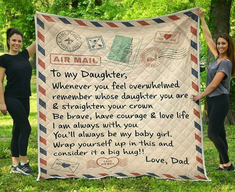 Air Mail To My Daughter Love Dad  Fleece Blanket 50x60; 60x80 Made In US