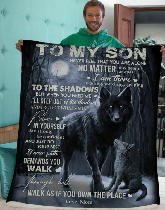 To My Son Love Mom Wolf Lover Custom Handmade Blanket, Premium Sherpa Fleece Blanket 50x60; 60x80 Made In US