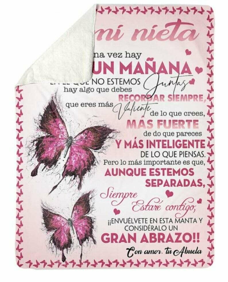 A Mi Nieta Un Manana Custom Handmade Blanket, Premium Sherpa Fleece Blanket 50x60; 60x80 Made In US