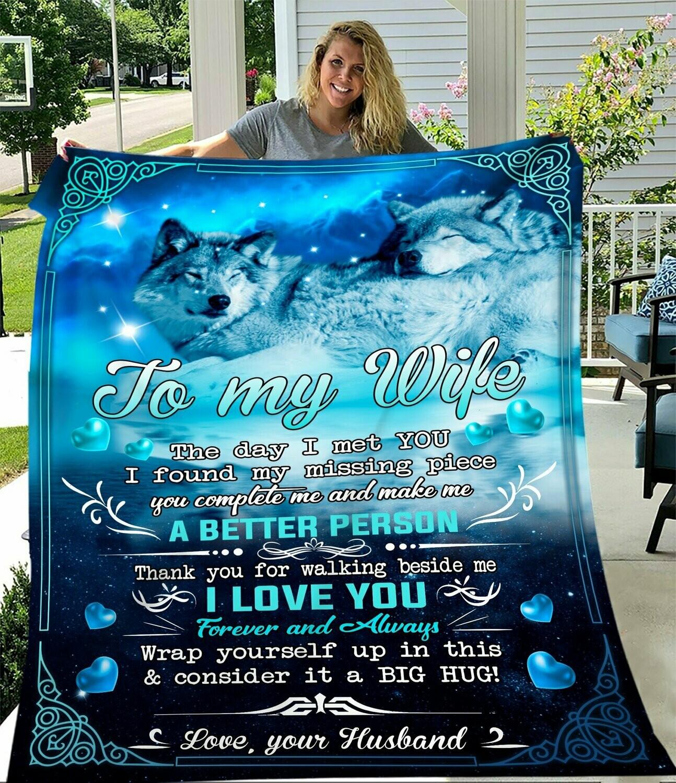 Wolf To My Husband Fleece Blanket, Gift For Husband, Husband And Wife, Couple Fleece Blanket, Family Fleece Blanket
