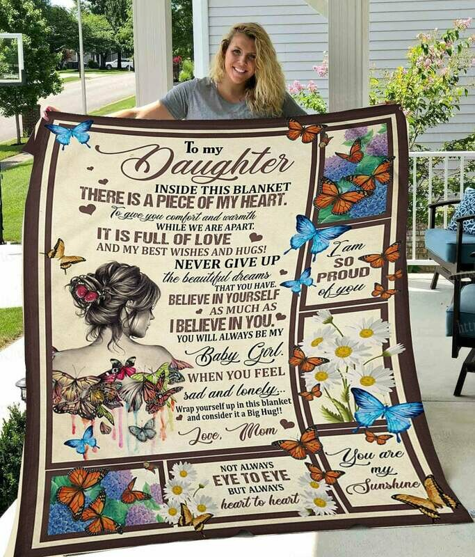 To My Daughter Inside This Blanket There Is A Piece Of My Heart Butterfly Fleece Blanket – Premium Sherpa Blanket