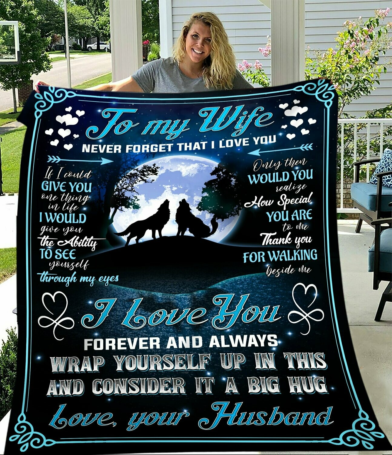 Wolf To My Husband Fleece Blanket, Gift For Husband, Husband And Wife, Couple Fleece Blanket, Family Fleece Blanket
