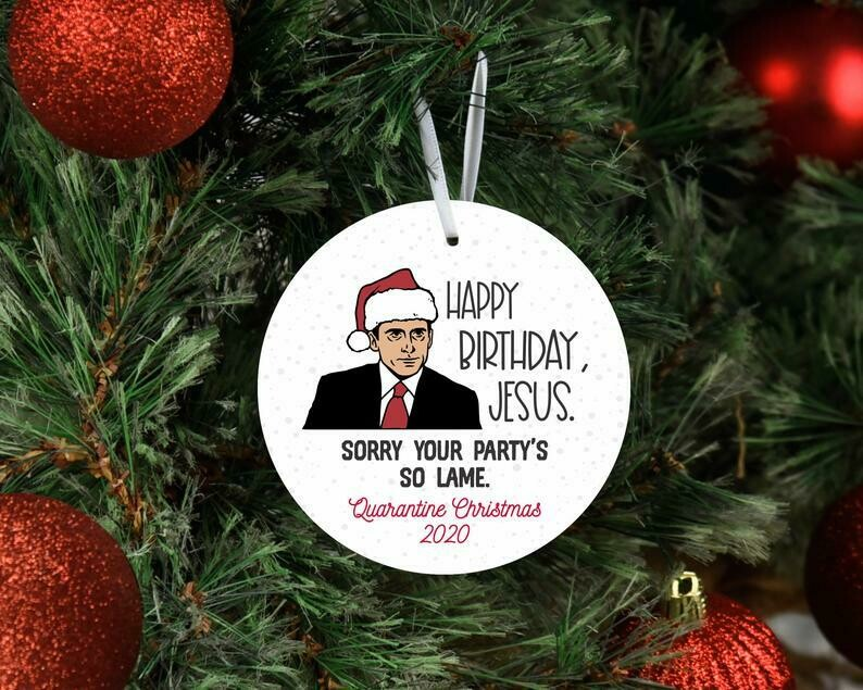 the office inspired christmas ornament, office themed christmas ornament, 2020 keepsake ornament, white elephant gift, the office fans
