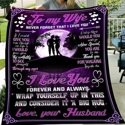 Moon To My Wife Never Forget That I Love You Love Your Husband Freece Blanket