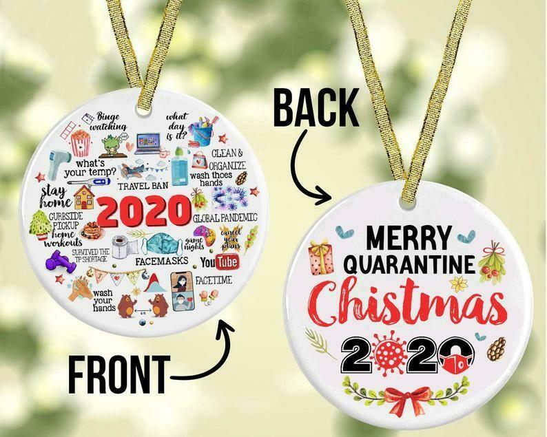 Merry Quarantine Christmas 2020, Funny Christmas Ornament, 2020 ornament• Quarantine ornament • Worst of the year ornament. 2 sided ornament