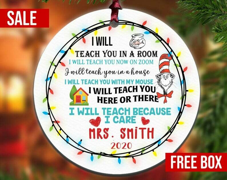 Personalized 2020 Teacher Appreciation Ornament, Teacher Ornament, Back To School Ornaments, School Ornament, Personalized Ornament