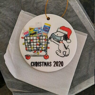 Santa Snoopy Shopping for Christmas 2020 Ornament