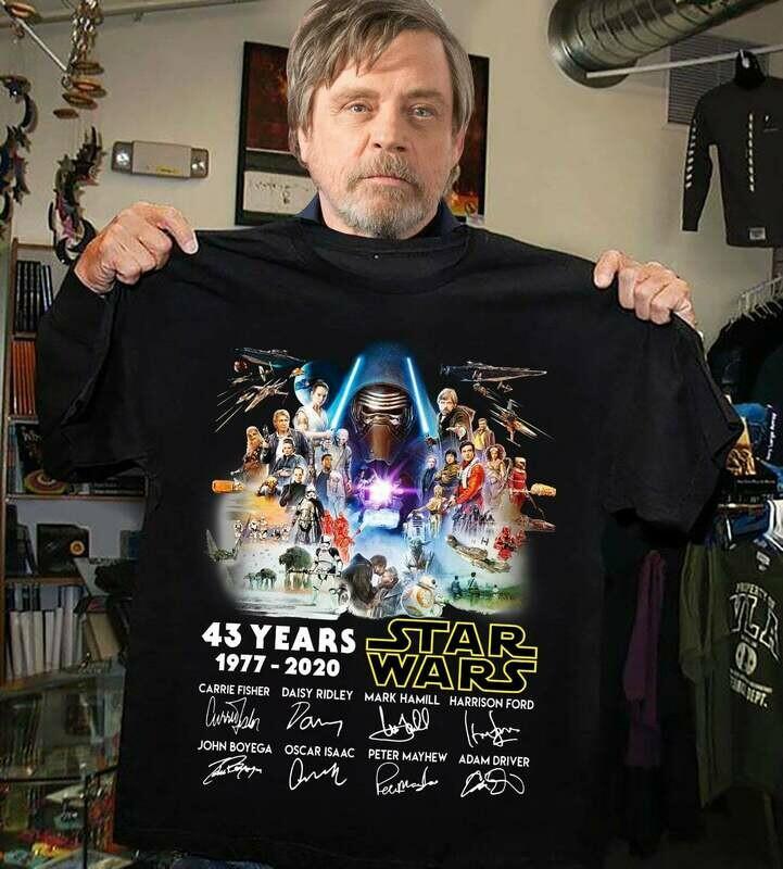 43 years of Star Wars 1977 2020 signature T-Shirt Hoodie Sweatshirt