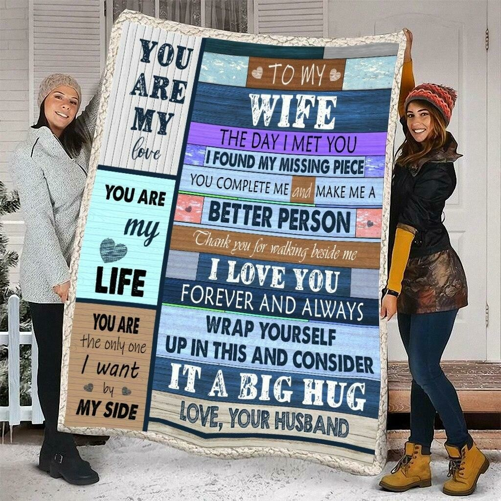 Husband To My Wife The Day I Met You I Found My Missing Piece Vintage Fleece Blanket