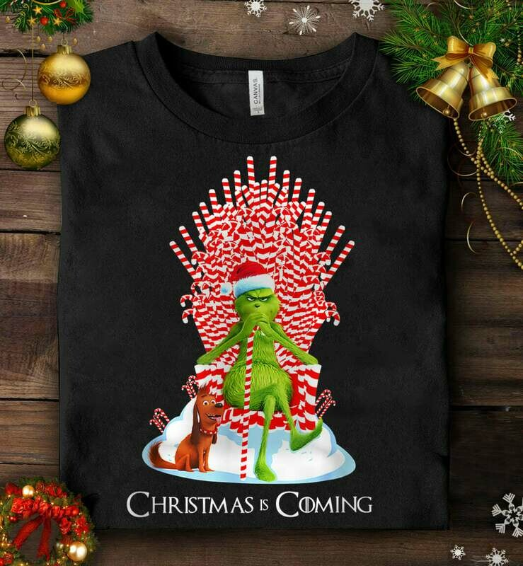 Grinch Is Coming Candy Cane Throne T-shirt, Funny Christmas Parody, Merry christmas T-Shirt, Grinch stole christmas, Christmas Parody shirt