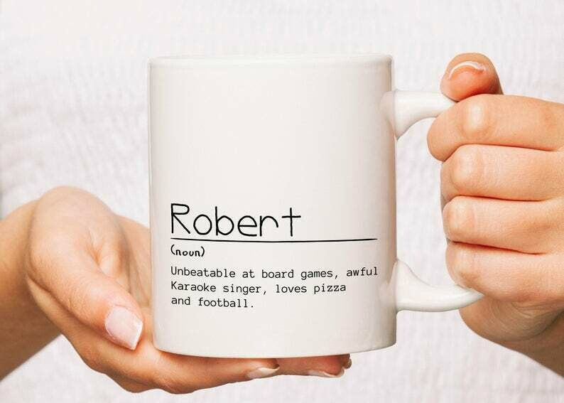 Custom name mug definition with design printed on both sides. Personalized best friend gift for him and for her. Create your own mug now!
