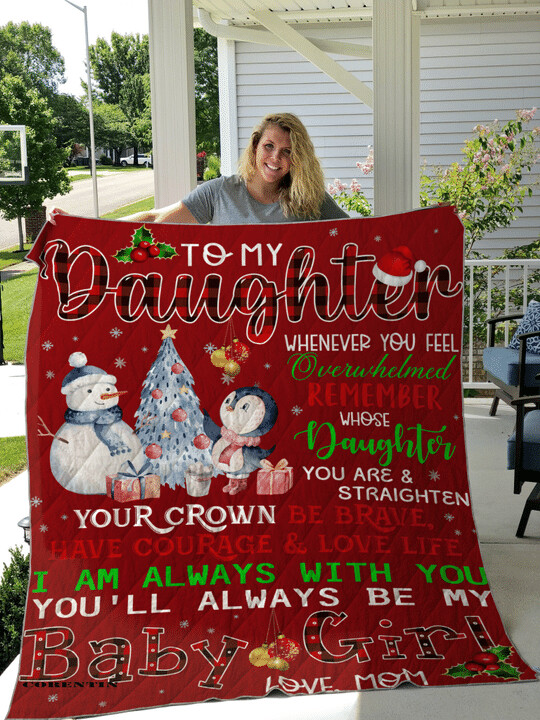To My Daughter Whenever You Feel Overwhelmed Christmas Fleece Blanket