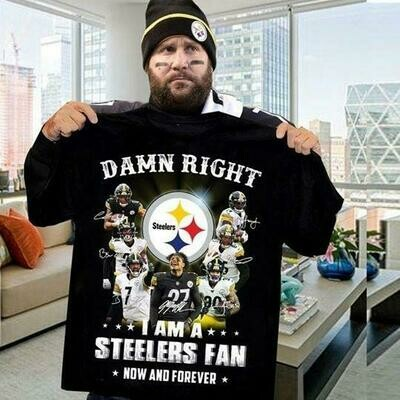 Damn Right I Am A Pittsburgh Steelers Fan Now And Forever Signatures T-Shirt, Hoodie, Sweatshirt
