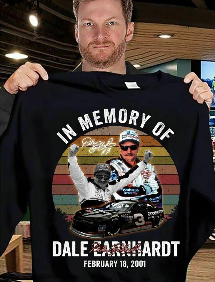 in memory of Dale Earnhardt february 18 2021 signature vintage T-shirt, Hoodie, Sweatshirt, Long Sleeve, Ladies T-shirt, Young Tee